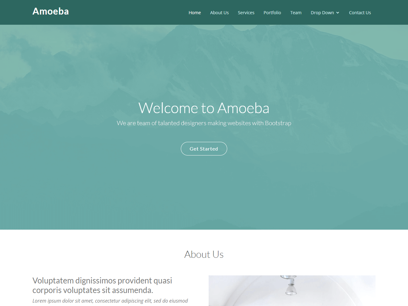 Free one page bootstrap template – Amoeba Theme Demo