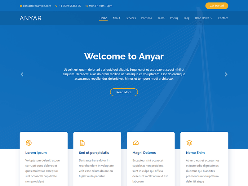 Anyar - Free Multipurpose One Page Bootstrap Template
