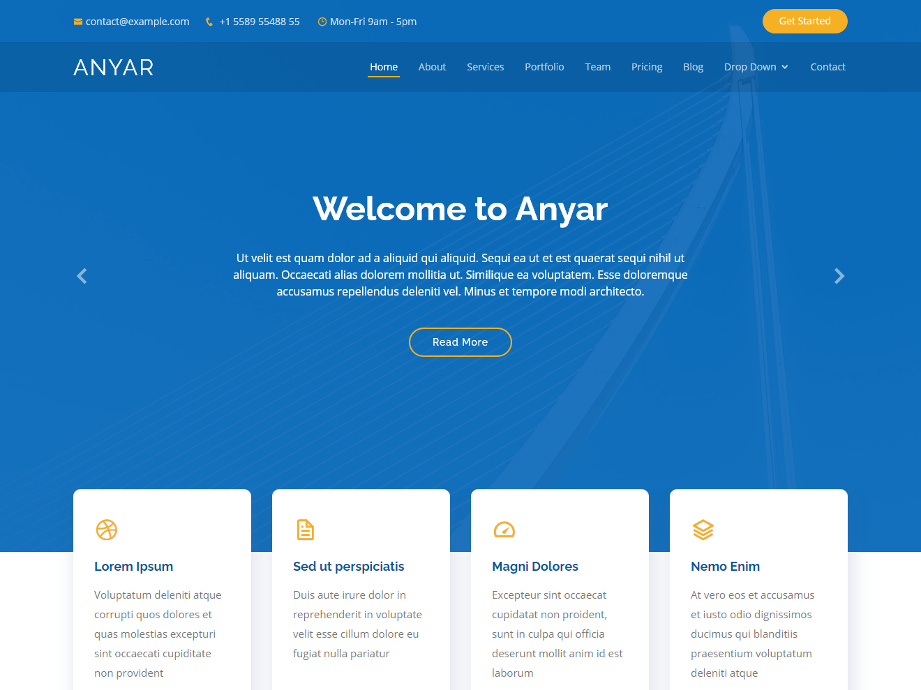 Anyar – Free Multipurpose One Page Bootstrap Theme Theme Demo