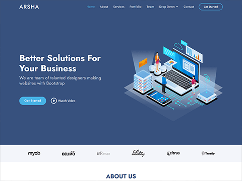 Arsha – Free Corporate Bootstrap HTML Template