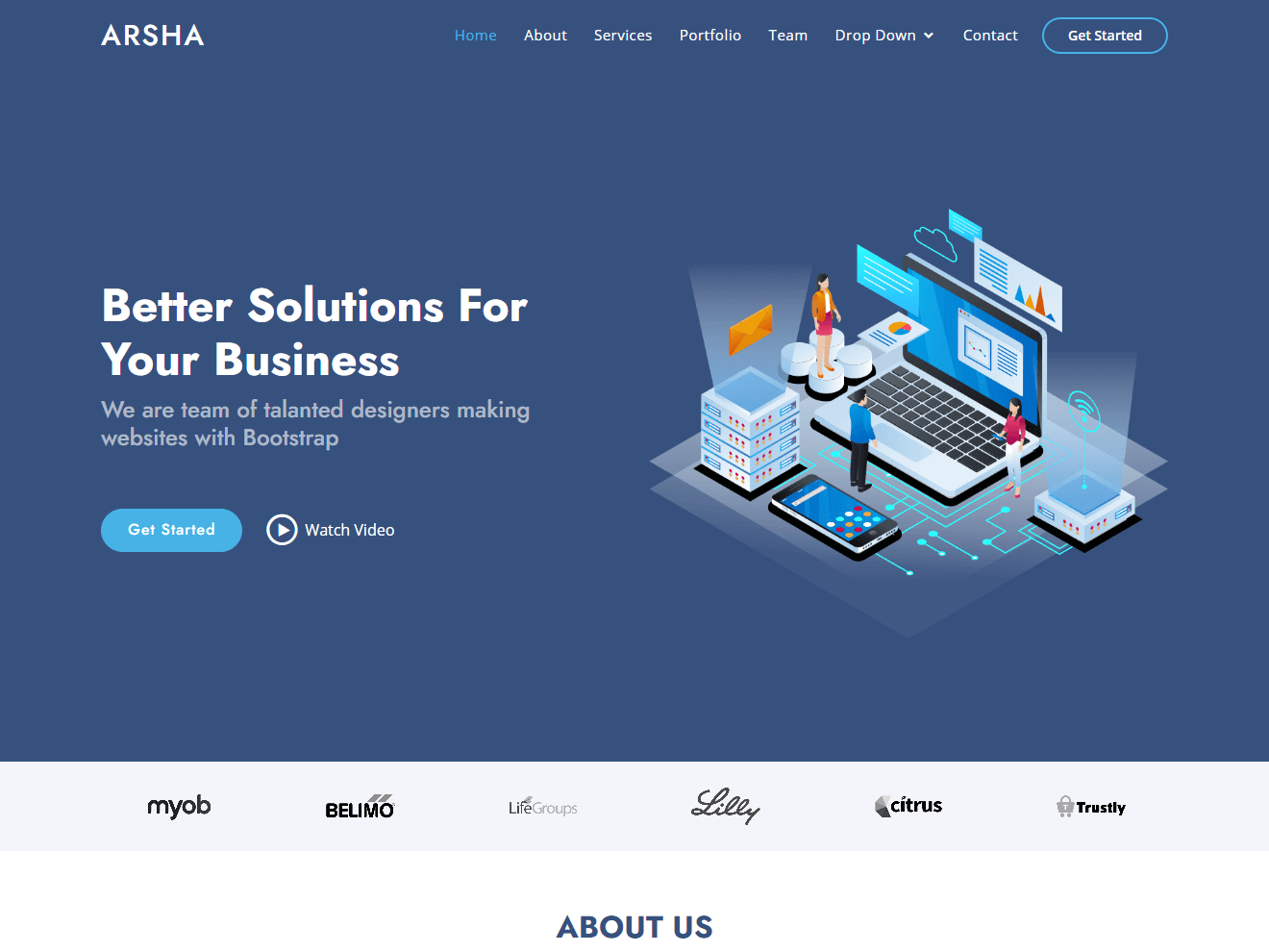 Arsha – Free bootstrap HTML template for corporate