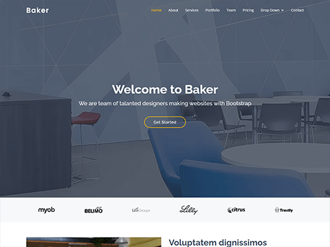 Baker – One Page Bootstrap Template