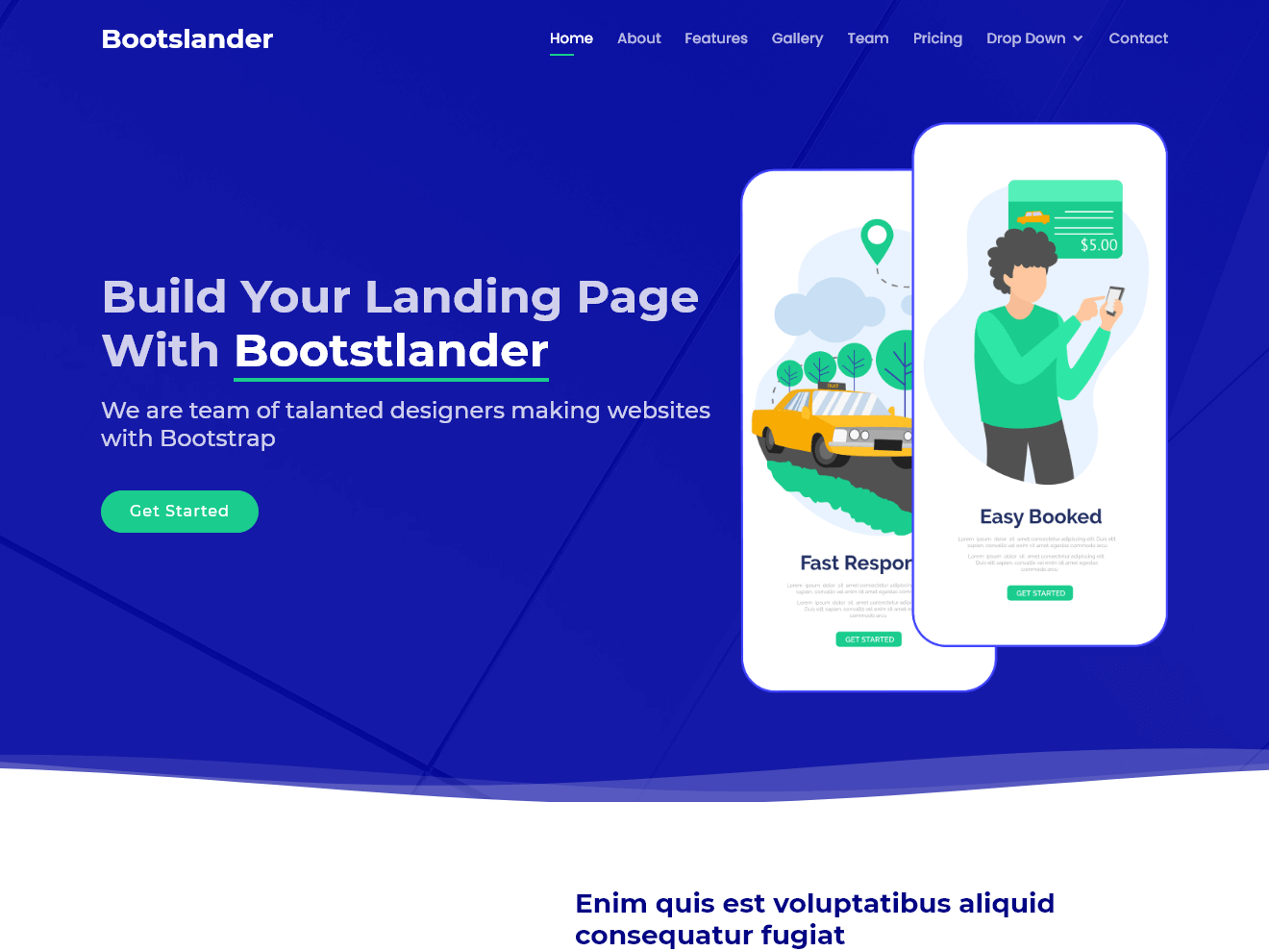 Bootslander Free Bootstrap Theme