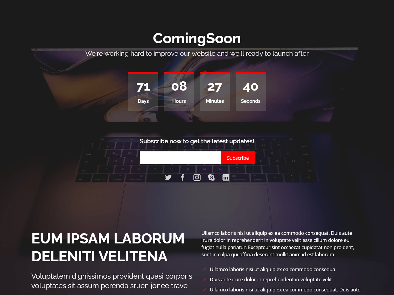 ComingSoon - Free Under Construction Bootstrap Template