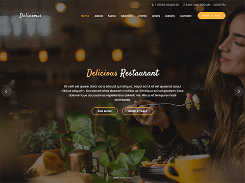 Delicious Free Restaurant Bootstrap Theme