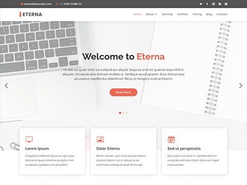 Eterna – Free Multipurpose Bootstrap Template