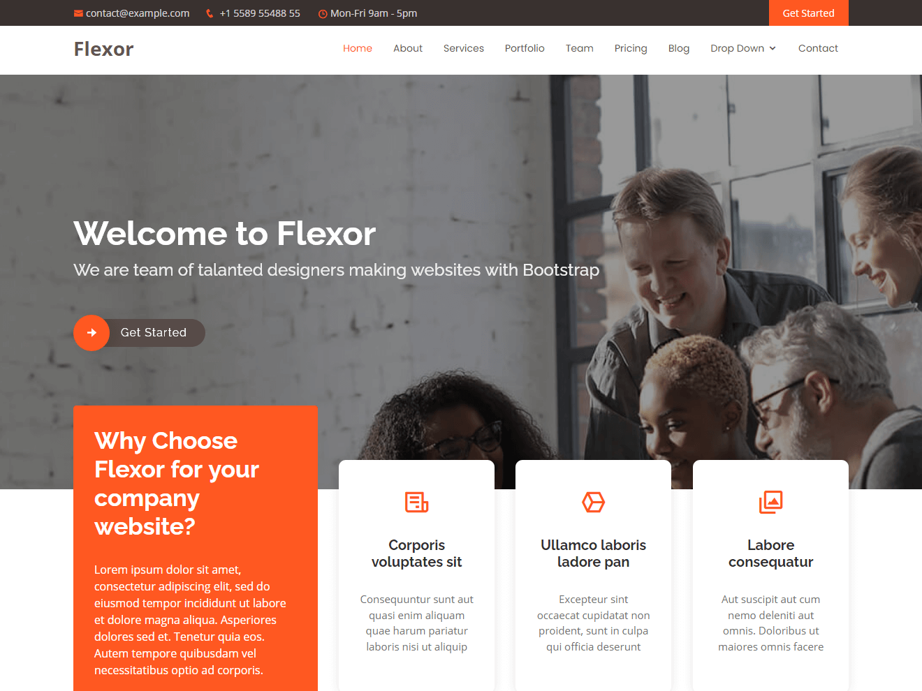 Flexor - Free Multipurpose Bootstrap Template