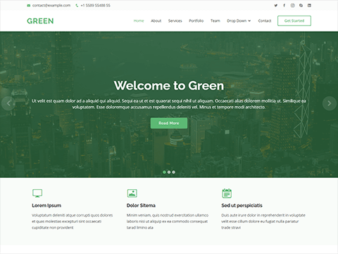 Green-Free one page HTML Bootstrap template