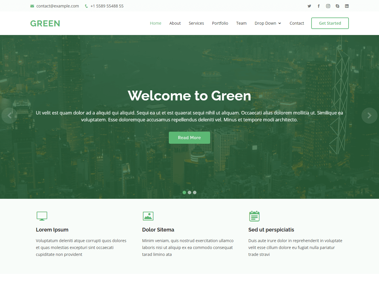 Green-Free one page HTML Bootstrap template Theme Demo