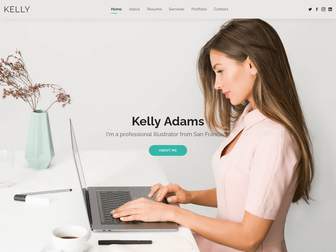 Kelly – Free Bootstrap CV Resume HTML Template Theme Demo