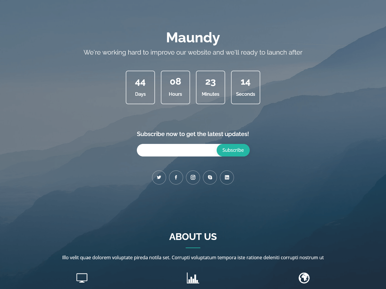 Maundy – Free Coming Soon Bootstrap Theme Theme Demo
