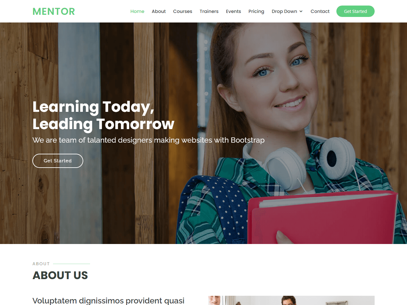 Mentor - Education Bootstrap Website Template