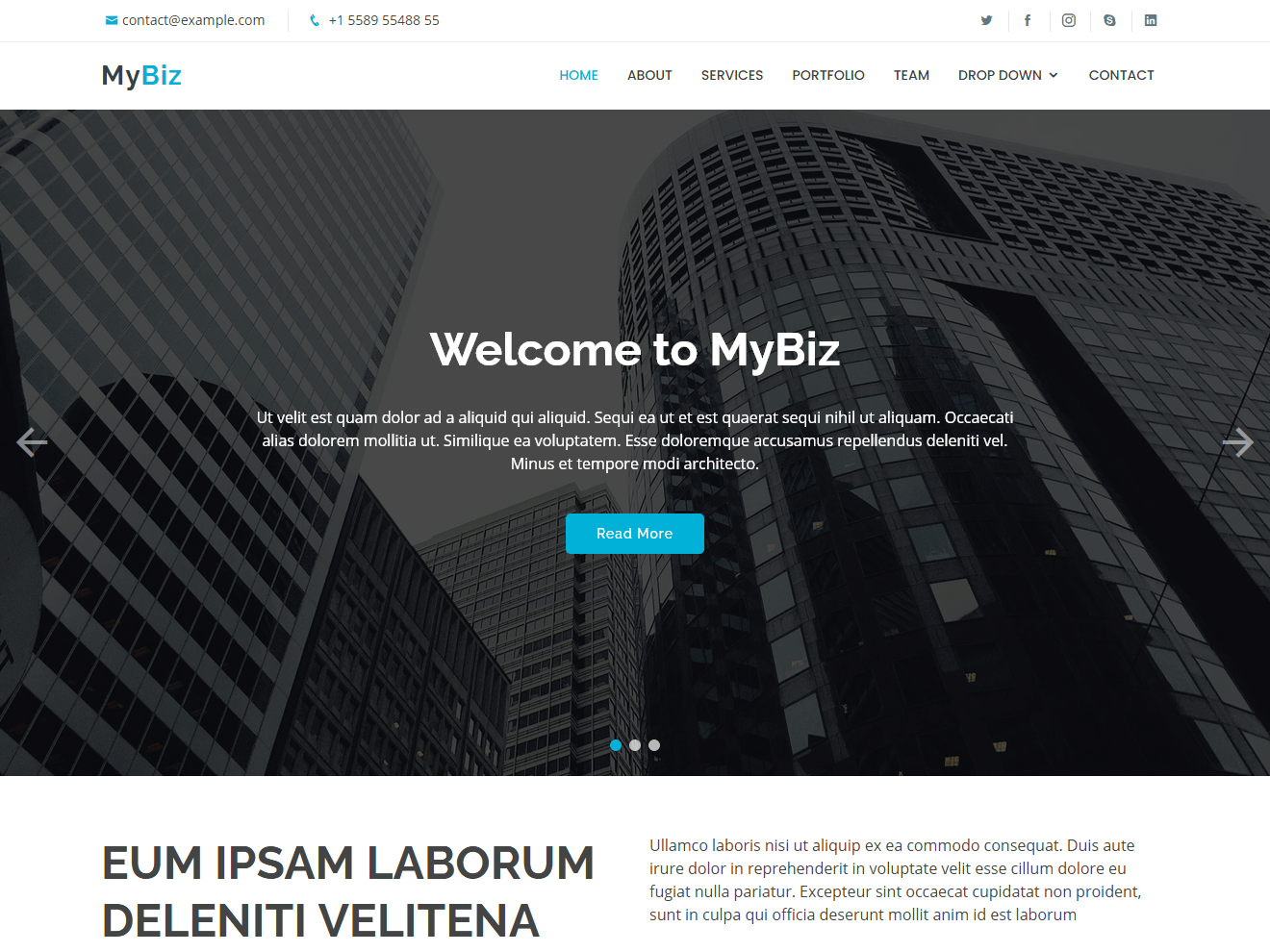 MyBiz - Free Business Bootstrap Theme
