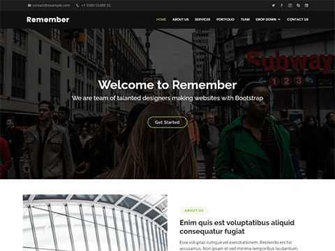 Remember – Free Multipurpose Bootstrap Template