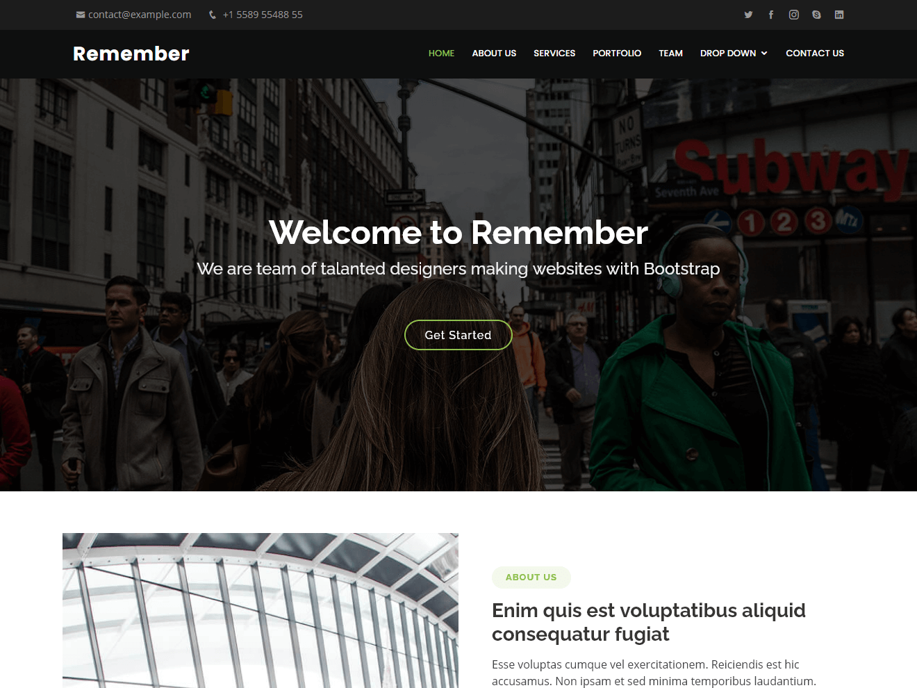 Remember - Free Multipurpose Bootstrap Template