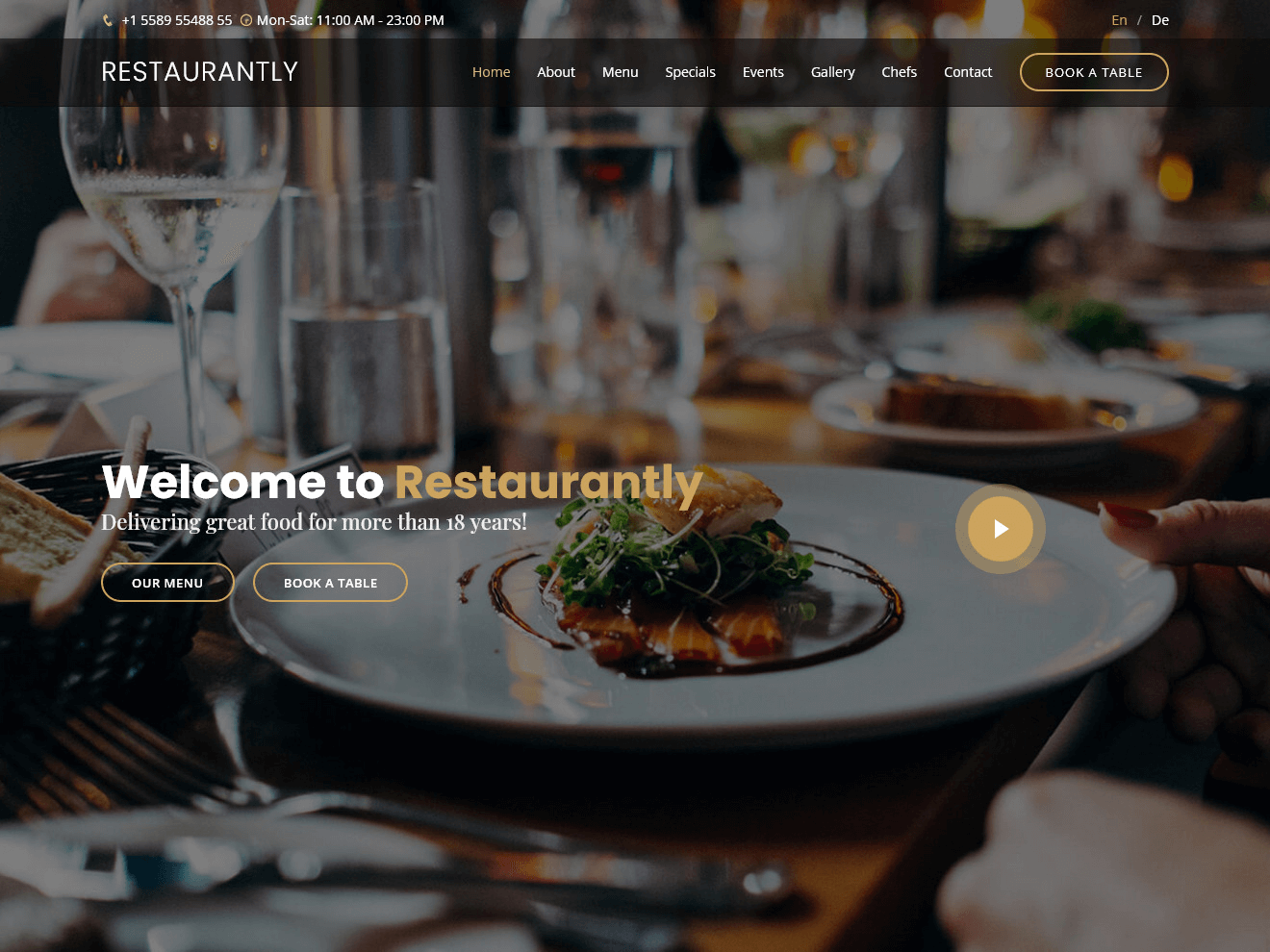 Restaurantly - Restaurant Website Template