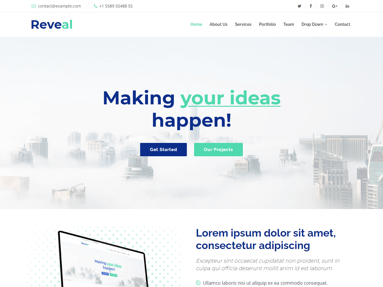 Reveal Free Bootstrap Theme