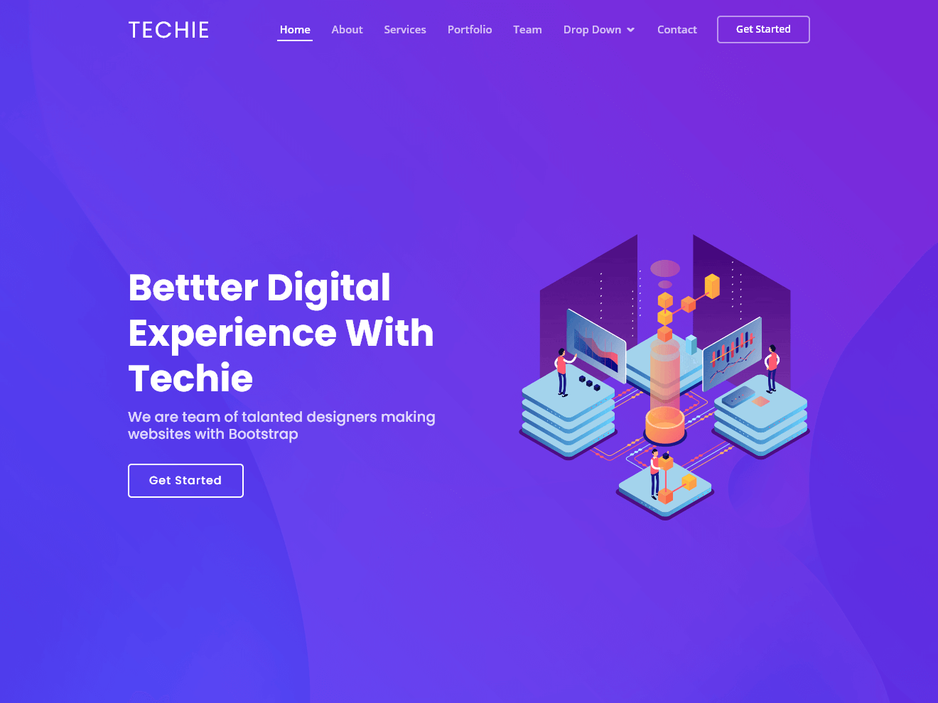 Techie – Free skin for Bootstrap 3 Theme Demo