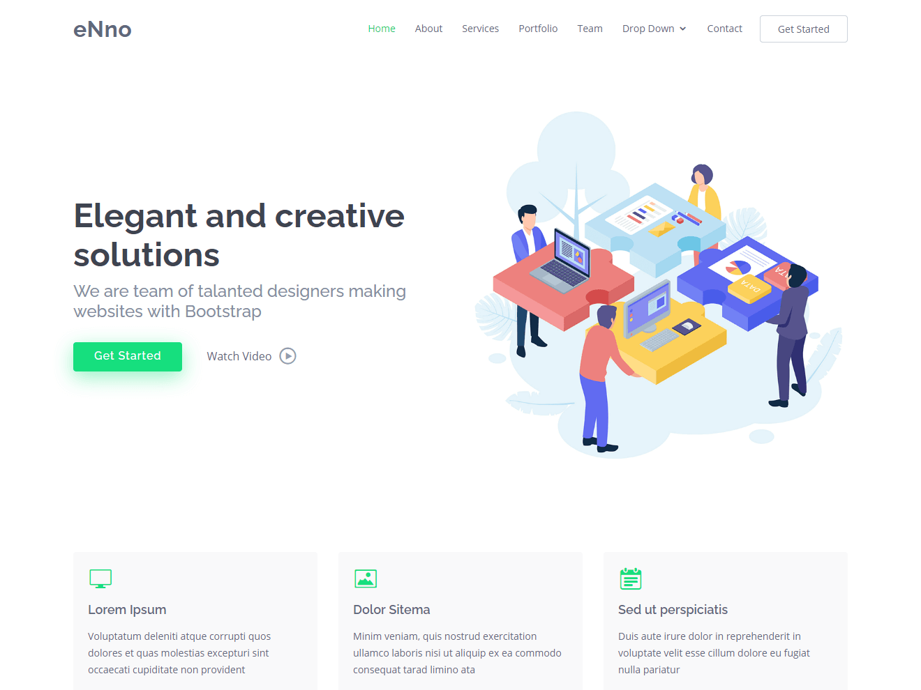 eNno – Free Simple Bootstrap Template Theme Demo